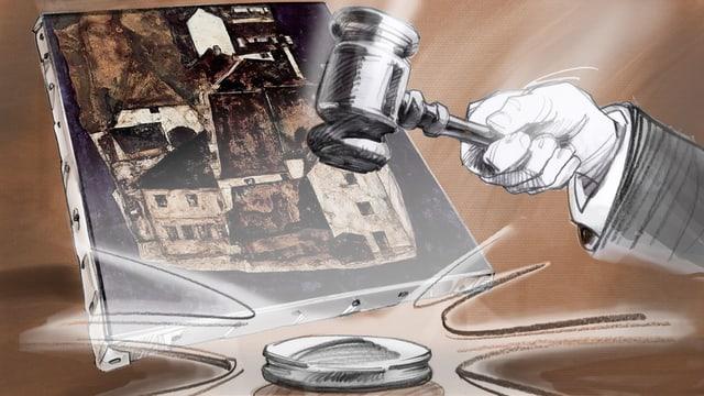 Die Illustration zeigt das Bild von Schiele, im Vordergrund einen Gerichtshammer.