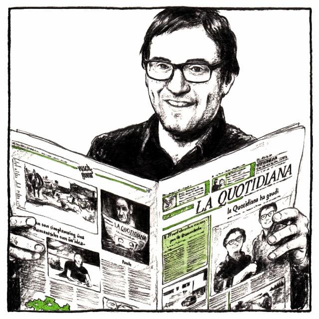 caricatura, David Truttmann, emprim schefredactur da la FMR (Fundaziun Medias Rumantscha)