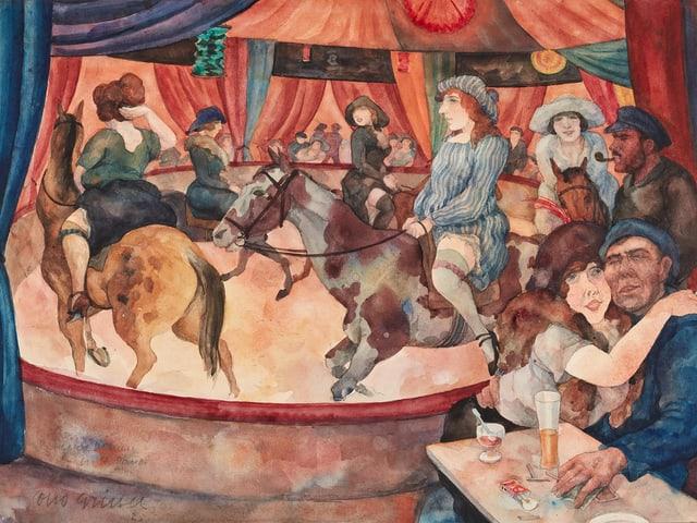 Eine Manege, in der Leute Pferde reiten.
