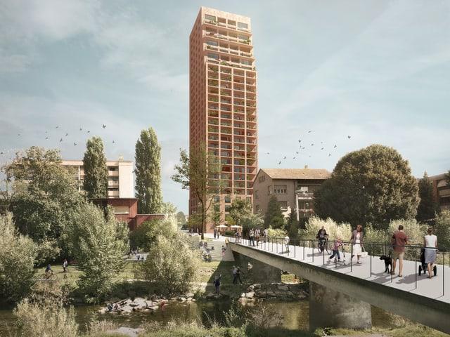 Visualisierung des geplanten Hochhauses samt Birssteg.
