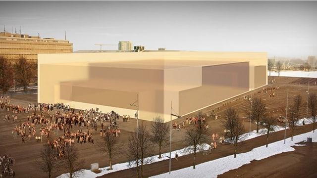 Grafik, welche die Grösse des geplanten Gebäudes zeigt.