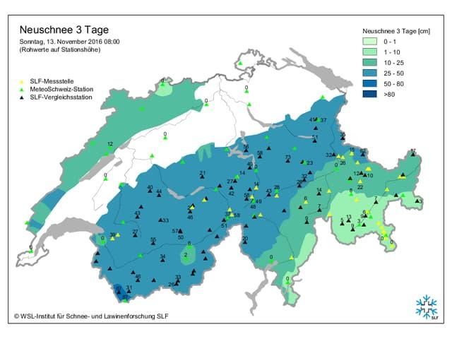 In den Alpen gab eb teils über 50 Zentimeter Schnee.