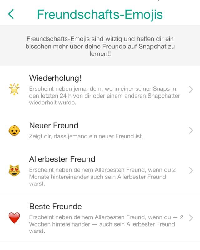 Ein Screenshot der Emoji-Einstellung in der Snapchat-App