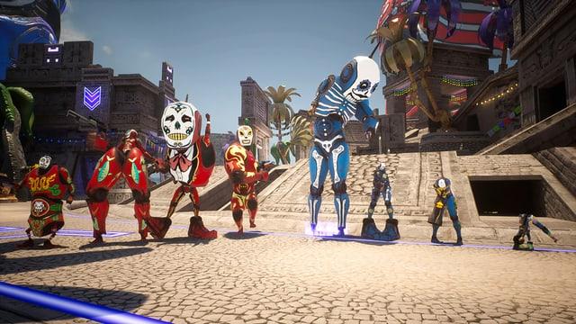 blaue und rote Figuren mit schwarzweissen Masken und Körperteilen, die unterschiedlich gross sind.