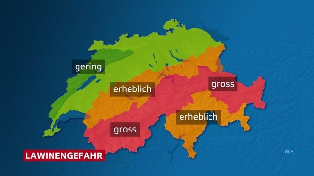 Karte der Schweiz mit der einzgezeichneten Lawinengefahr.