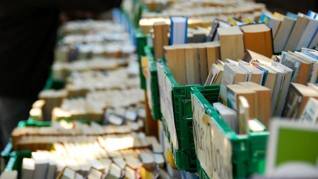 Grüne Kisten sind voll mit Büchern.