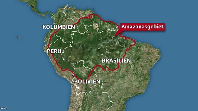 Karte des Amazonas-Gebiets.