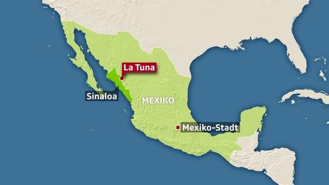Kartenausschnitt des Geburtsortes von Joaquín Archivaldo Guzmán Loera im mexikanischen Bundesstaat Sinaloa und im Distrikt Badiraguato.