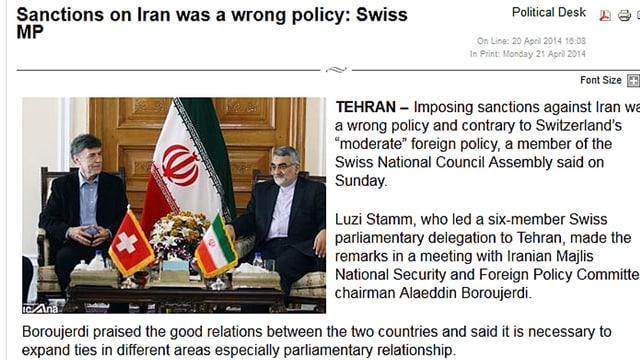 Luzi Stamm mit einem iranischen Politker