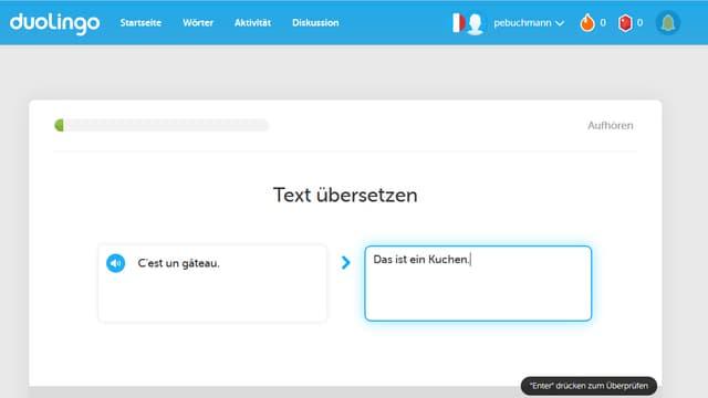 Screenshot der Testseite
