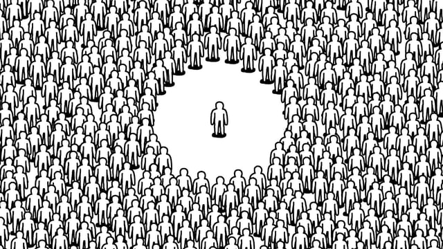 Zeichnung: Ein einzelnes Strichmännchen alleine in der Mitte, mit etwas Abstand eine grosse Masse gleicher Figuren, die es umgibt.