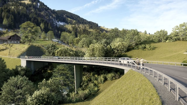 Visualisierung der neuen Chrutacherbrücke mit Auto.