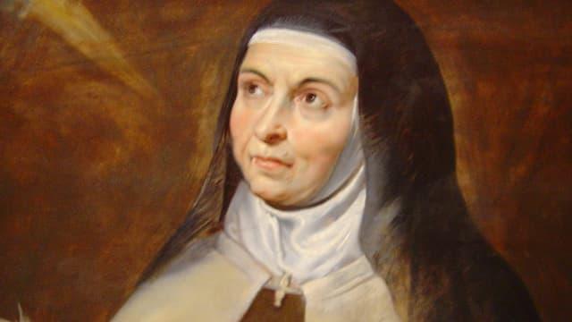 Ein Gemälde einer Nonne.