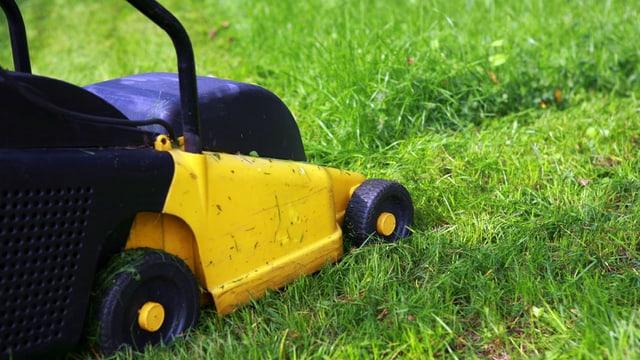 Ein gelber Rasenmäher auf einer Rasenfläche.