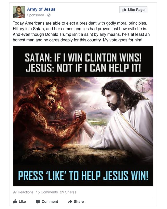 Facebook-Post Satan und Jesus