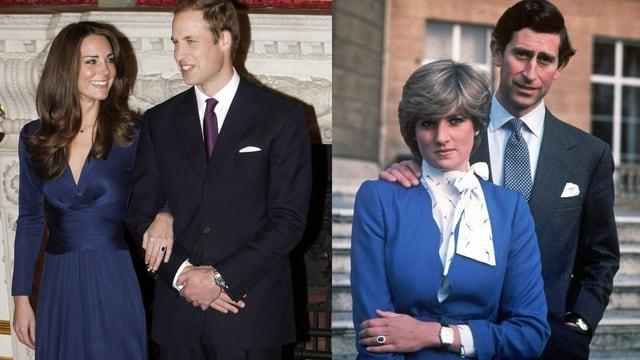 Die Verlobungsbilder von William und Kate sowie  Charles und Diana.
