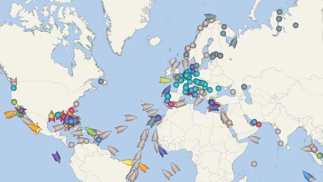 Kreuzfahrtschiffe auf einer Karte