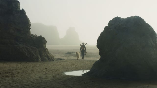 Robert Pattinson geht am Strand mit einem Hund.