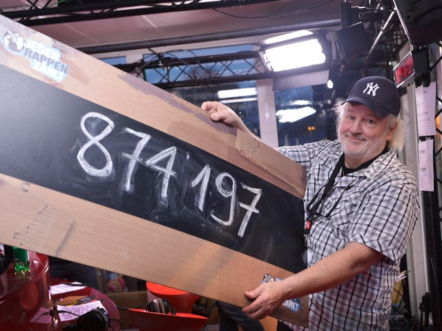 Peach Weber mit dem aktuellen Spendenstand