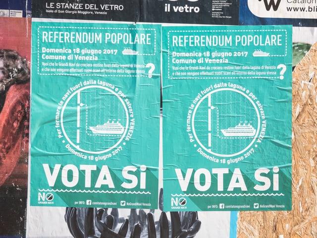 """Plakat mit der Aufschrift: """"Vota si"""""""