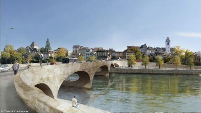 Visualisierung der Pont Neuf über die Aare bei Aarau.