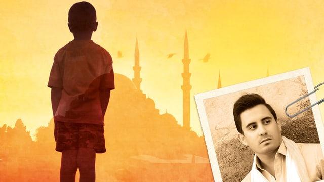 Silhouette eines Jungen vor einer Moschee. Mit Büroklammer angeheftet: das Foto des Autors