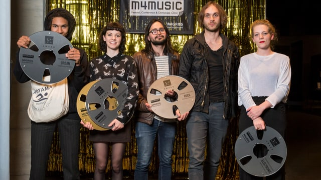Die Gewinner der «Demotap Clinic» 2017: Zola, Meimuna, Dirty Sound Magnet, Verveine (v.l.n.r)