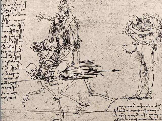 Zeichnung einer Frau, die auf einem Skelett reitet