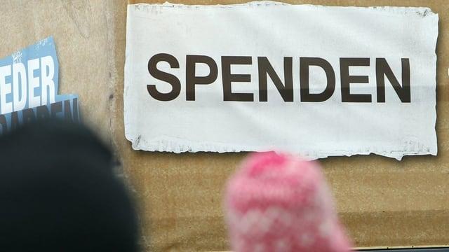 Placat cun inscripziun Spenden