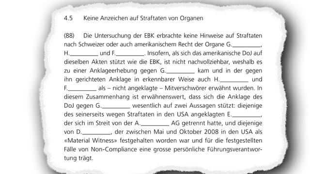 G steht für Raoul Weil, H für Marcel Rohner, F für Peter Kurer. A AG bedeutet UBS AG, E steht für Bradley Birkenfeld und D für Martin Liechti.
