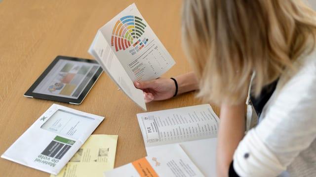 Eine Frau studiert die Wahlunterlagen- und Werbung