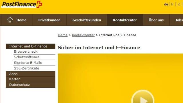 Online-Portal von Postfinance