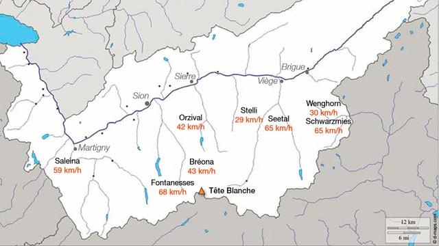 Auf einer der Karte sind die verschiedenen maximalen Windböen im Wallis aufgezeichnet.