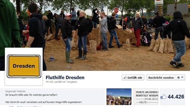 Titelseite des Facebook-Seite Fluthilfe Dresden