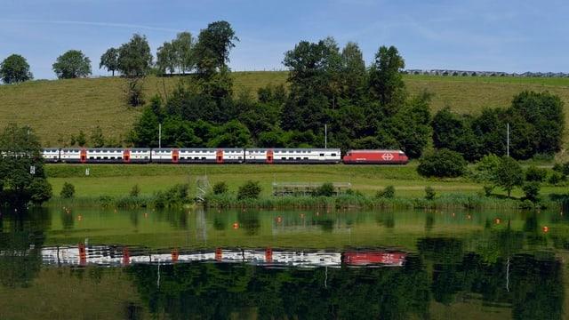 Zug fährt an einem See entlang.