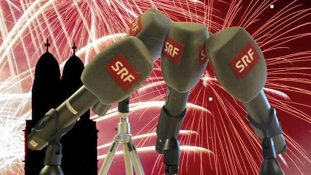 Vier SRF-Mikrofone, im Hintergrund ein Feuerwerk vor dem Zürcher Grossmünster