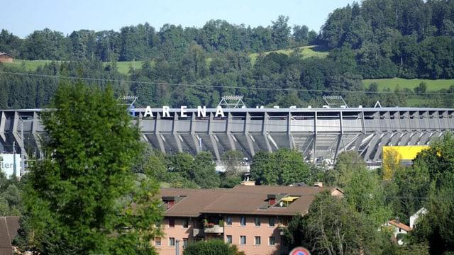 Das Stadion AFG Arena in St. Gallen-Winklen von aussen.