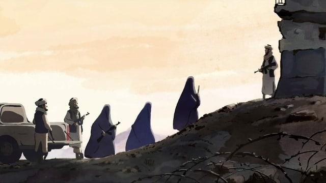 Drei männliche Taliban-Schergen begleiten drei verhüllte Frauen mit Gewehren den Berg rauf.
