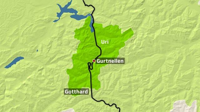 Kartenausschnitt der Gotthard-Bahnstrecke bei Gurtnellen.