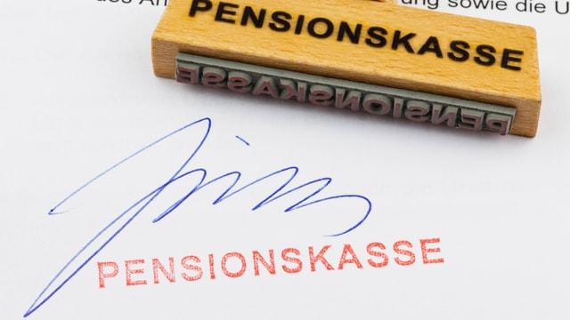 Stempel mit der Aufschrift Pensionskasse.