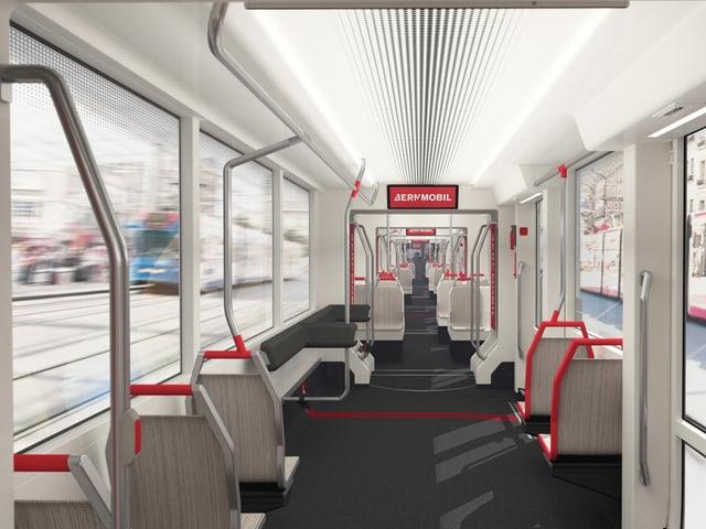 Insgesamt haben 260 Personen Platz im Tram, Sitzplätze hat es 68.