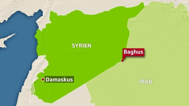 Kartenausschnitt Syrien und Irak.