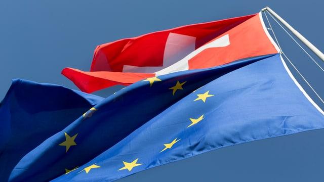 Flaggen EU und Schweiz.