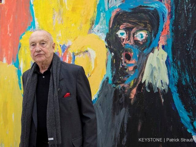 Georg Baselitz vor einem seiner Bilder.
