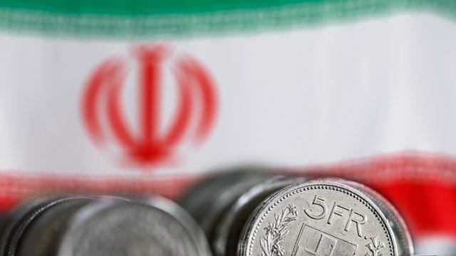 Bandiera da l'Iran, davon daners svizzers.