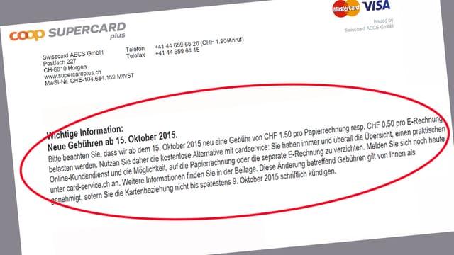 Auszug aus einem Brief von Supercard.