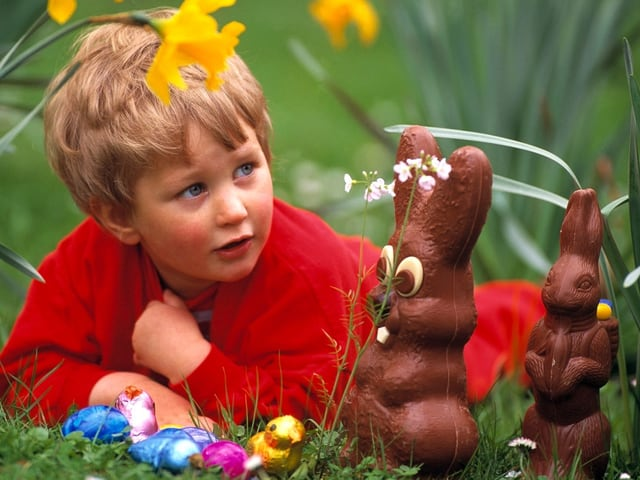 Ein Kind liegt am Boden und betrachte die Schoggihasen im Garten.