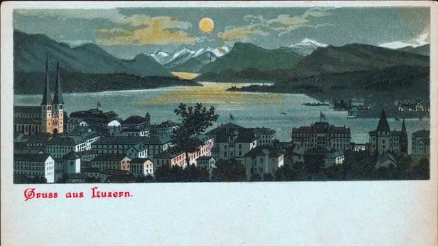Historische Postkarte mit dem Vierwaldstättersee