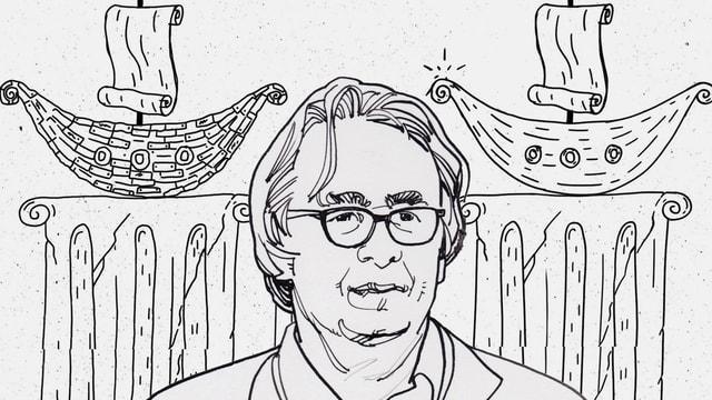 Zeichnung: Ein Mann mit Brille steht vor zwei Säulen. Auf den beiden Säulen steht je ein Schiff.