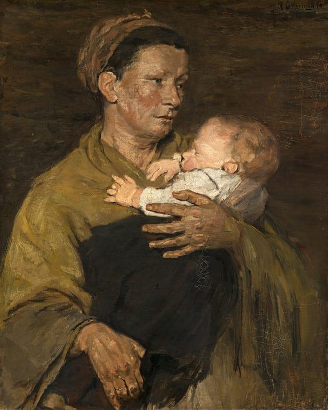 Ein Ölgemälde in Brauntönen zeigt eine Bäuerin, die ein junges Kind auf dem Arm hält.
